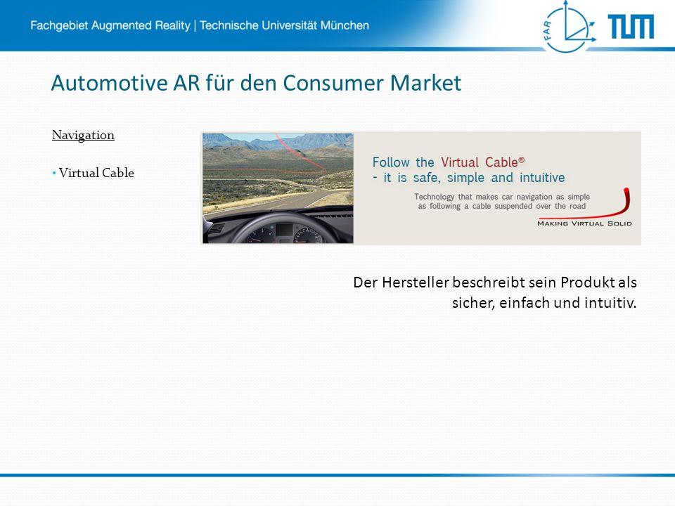 Automotive AR für den Consumer Market Navigation Virtual Cable Der Hersteller beschreibt sein Produkt als sicher, einfach und intuitiv.
