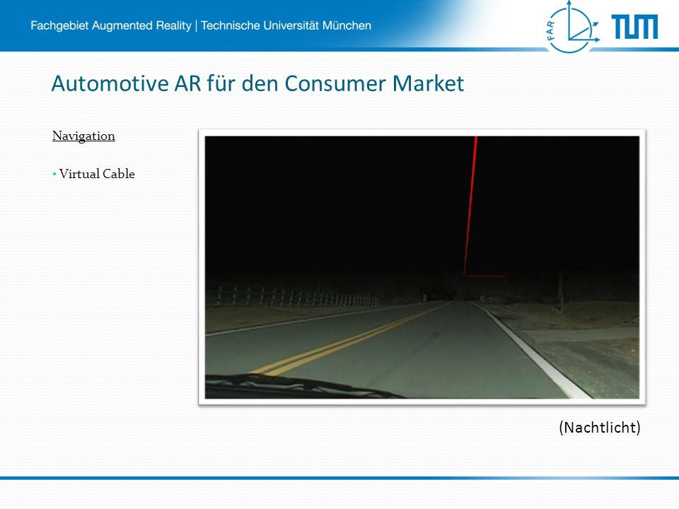 Automotive AR für den Consumer Market Navigation Virtual Cable (Nachtlicht)