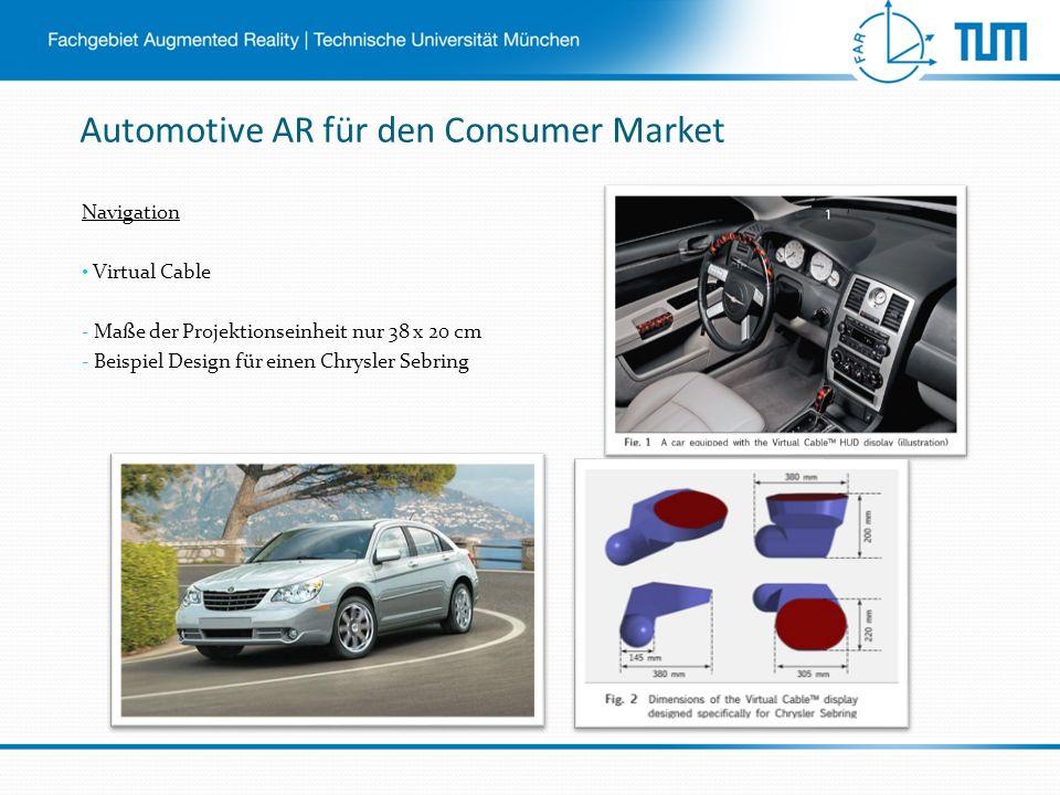 Automotive AR für den Consumer Market Navigation Virtual Cable - Maße der Projektionseinheit nur 38 x 20 cm - Beispiel Design für einen Chrysler Sebring