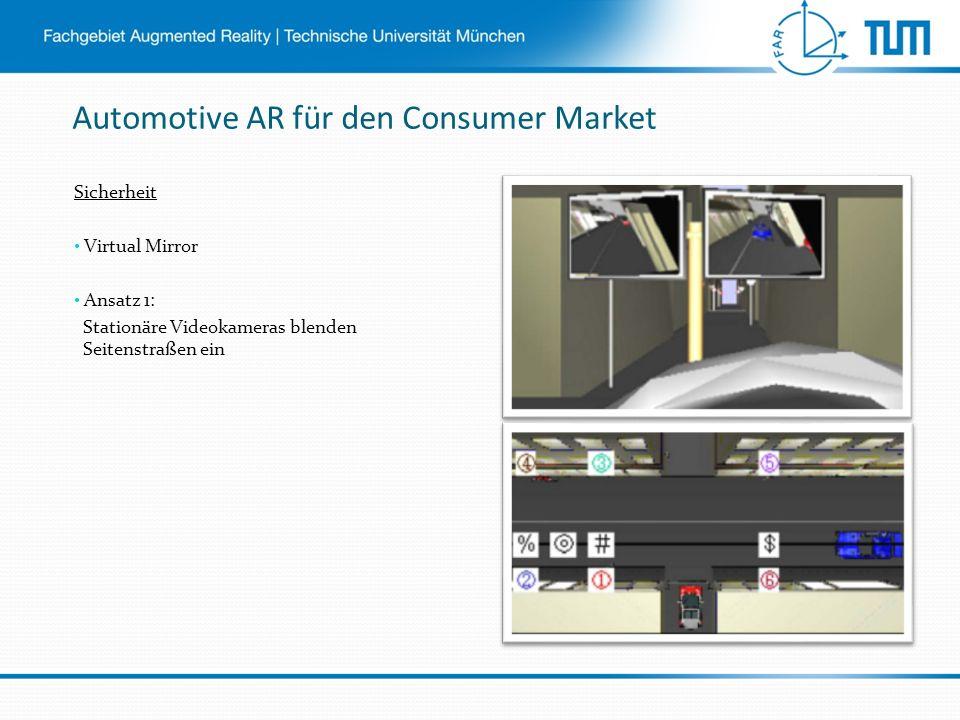 Automotive AR für den Consumer Market Sicherheit Virtual Mirror Ansatz 1: Stationäre Videokameras blenden Seitenstraßen ein