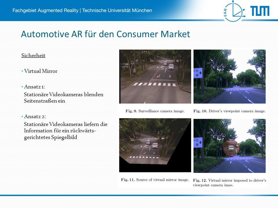 Automotive AR für den Consumer Market Sicherheit Virtual Mirror Ansatz 1: Stationäre Videokameras blenden Seitenstraßen ein Ansatz 2: Stationäre Videokameras liefern die Information für ein rückwärts- gerichtetes Spiegelbild