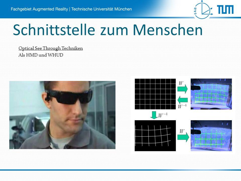 Optical See Through Techniken Als HMD und WHUD Schnittstelle zum Menschen