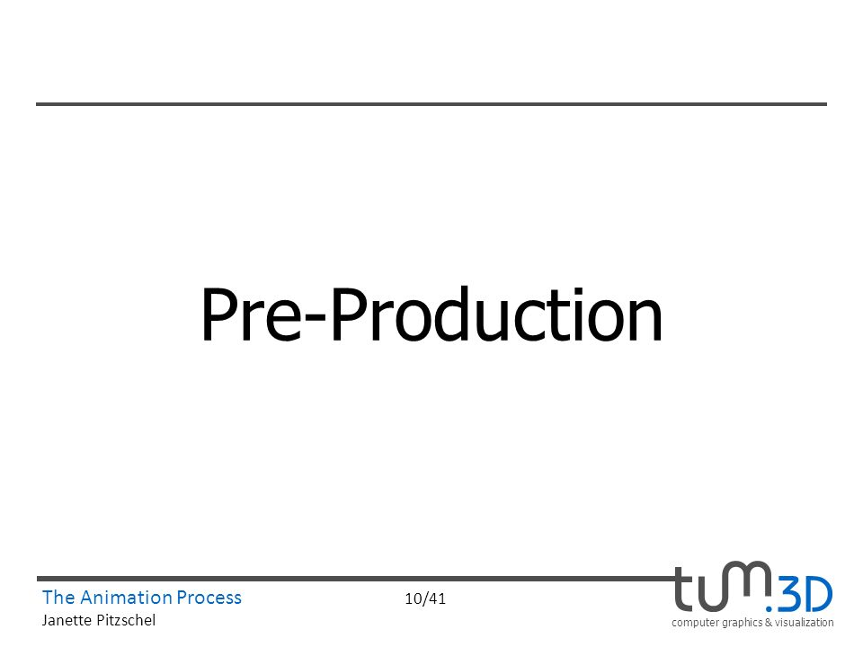 computer graphics & visualization The Animation Process 10/41 Janette Pitzschel Pre-Production