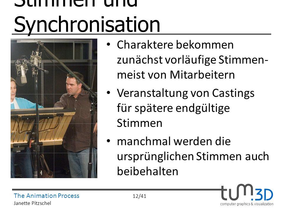 computer graphics & visualization The Animation Process 12/41 Janette Pitzschel Stimmen und Synchronisation Charaktere bekommen zunächst vorläufige St