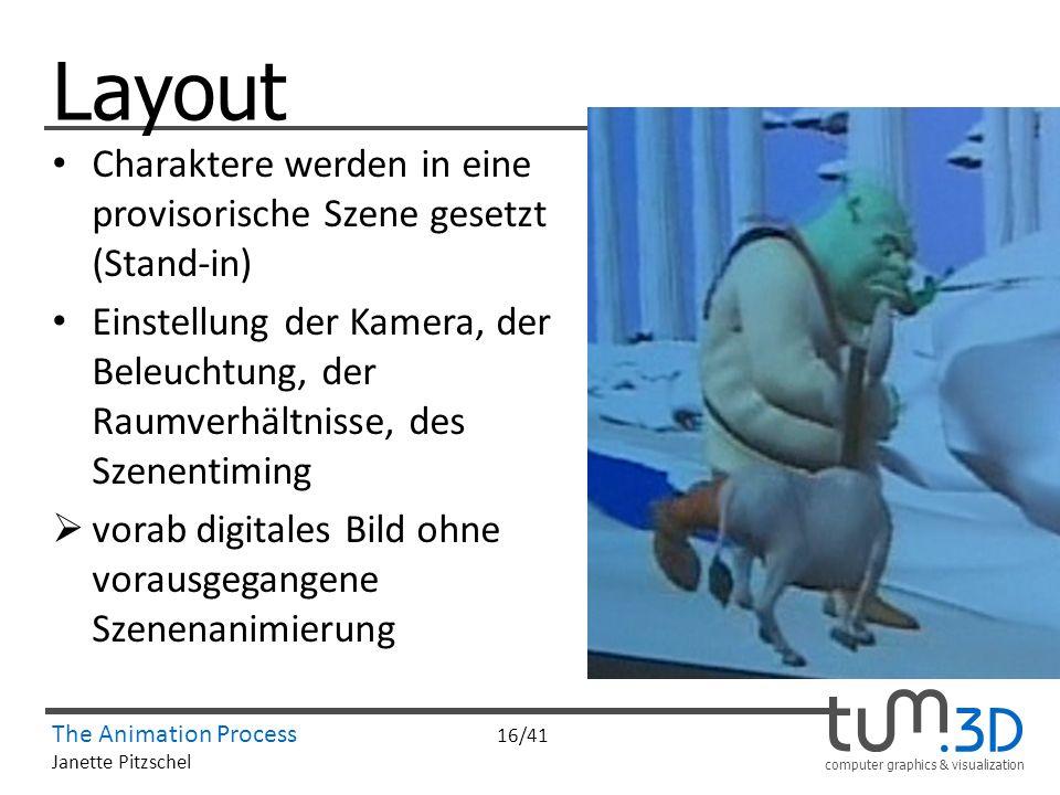 computer graphics & visualization The Animation Process 16/41 Janette Pitzschel Layout Charaktere werden in eine provisorische Szene gesetzt (Stand-in
