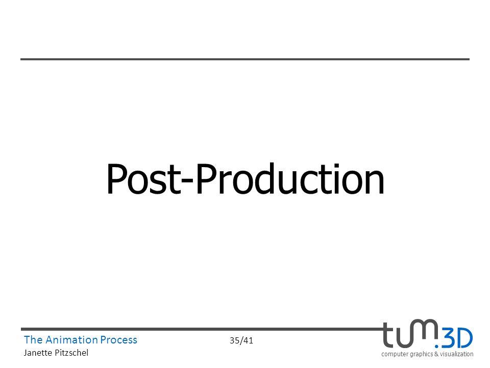 computer graphics & visualization The Animation Process 35/41 Janette Pitzschel Post-Production