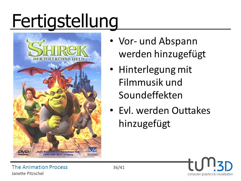 computer graphics & visualization The Animation Process 36/41 Janette Pitzschel Fertigstellung Vor- und Abspann werden hinzugefügt Hinterlegung mit Fi