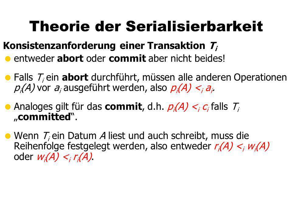 Theorie der Serialisierbarkeit Konsistenzanforderung einer Transaktion T i entweder abort oder commit aber nicht beides! Falls T i ein abort durchführ