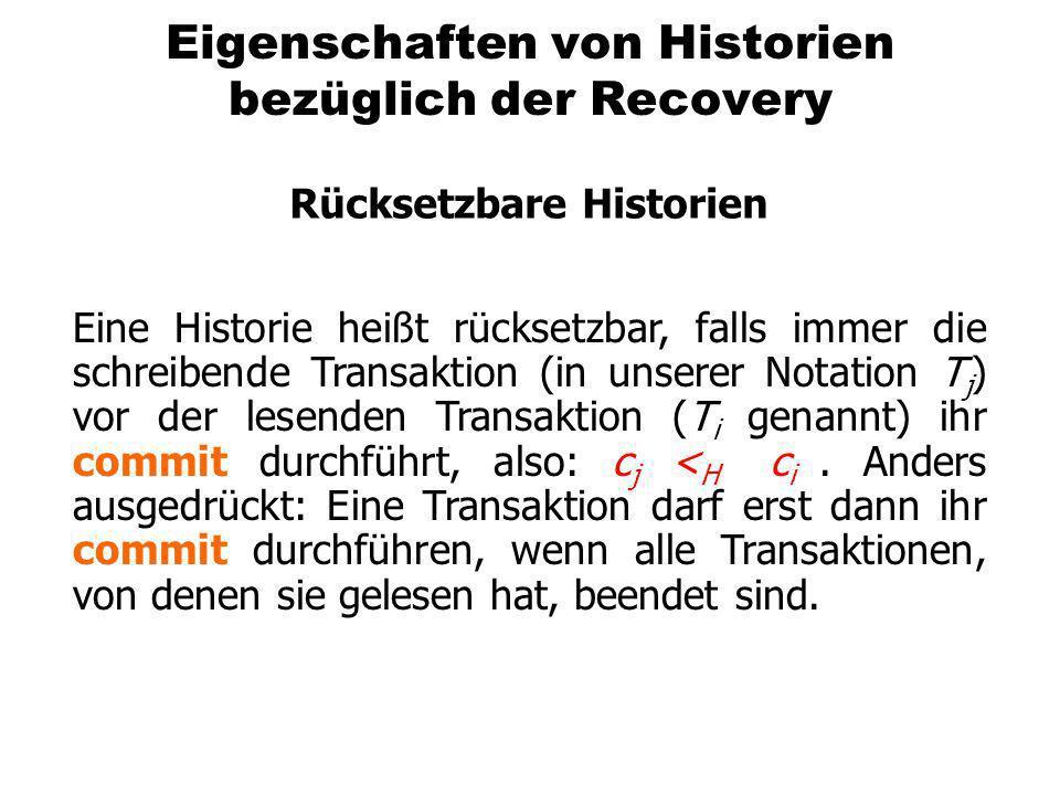 Eigenschaften von Historien bezüglich der Recovery Rücksetzbare Historien Eine Historie heißt rücksetzbar, falls immer die schreibende Transaktion (in