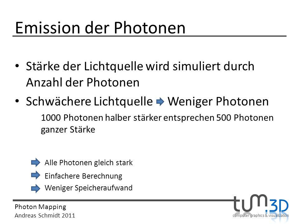 computer graphics & visualization Photon Mapping Andreas Schmidt 2011 Emission der Photonen Stärke der Lichtquelle wird simuliert durch Anzahl der Pho