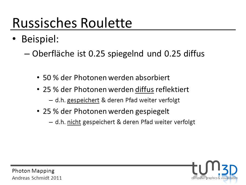 computer graphics & visualization Photon Mapping Andreas Schmidt 2011 Russisches Roulette Beispiel: – Oberfläche ist 0.25 spiegelnd und 0.25 diffus 50