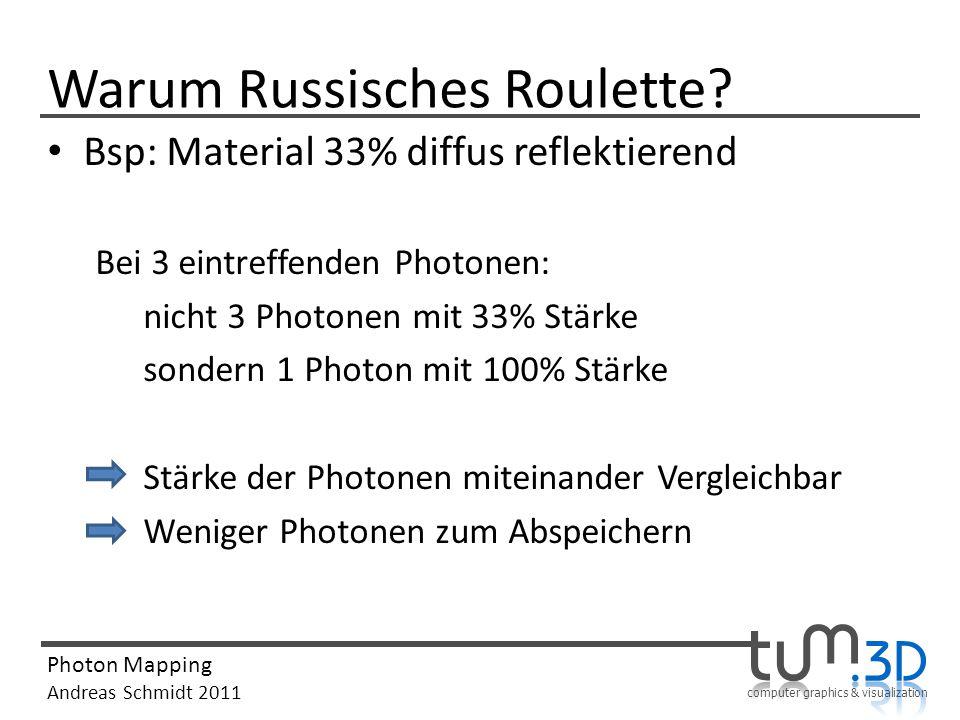computer graphics & visualization Photon Mapping Andreas Schmidt 2011 Warum Russisches Roulette? Bsp: Material 33% diffus reflektierend Bei 3 eintreff