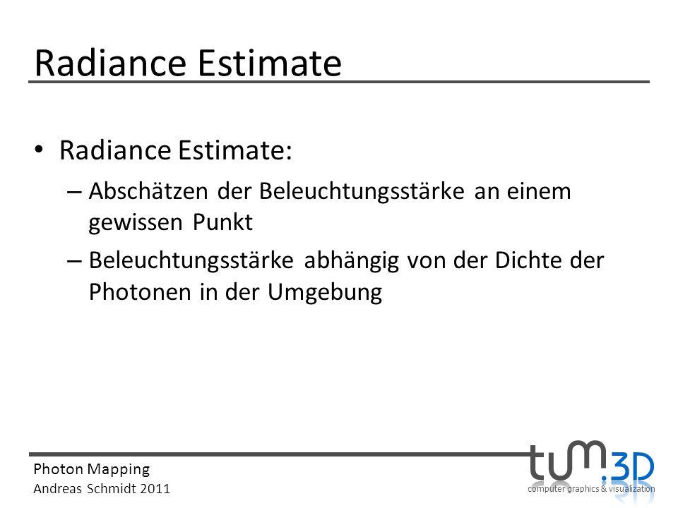 computer graphics & visualization Photon Mapping Andreas Schmidt 2011 Radiance Estimate Radiance Estimate: – Abschätzen der Beleuchtungsstärke an eine