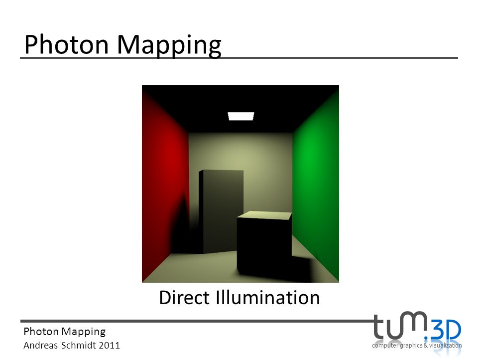 computer graphics & visualization Photon Mapping Andreas Schmidt 2011 Photon Mapping Direct Illumination