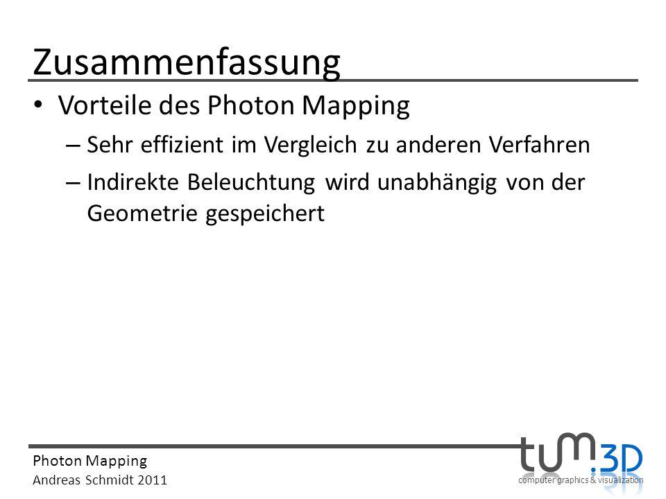 computer graphics & visualization Photon Mapping Andreas Schmidt 2011 Zusammenfassung Vorteile des Photon Mapping – Sehr effizient im Vergleich zu and