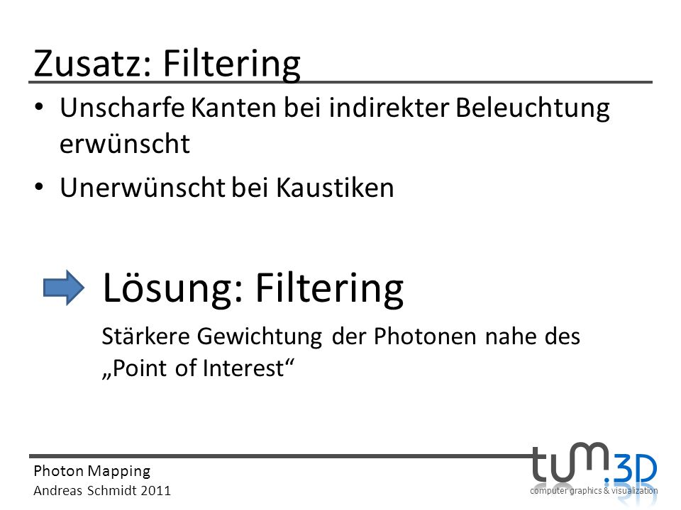 computer graphics & visualization Photon Mapping Andreas Schmidt 2011 Zusatz: Filtering Unscharfe Kanten bei indirekter Beleuchtung erwünscht Unerwüns