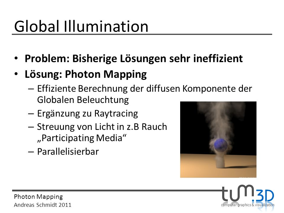 computer graphics & visualization Photon Mapping Andreas Schmidt 2011 Global Illumination Problem: Bisherige Lösungen sehr ineffizient Lösung: Photon