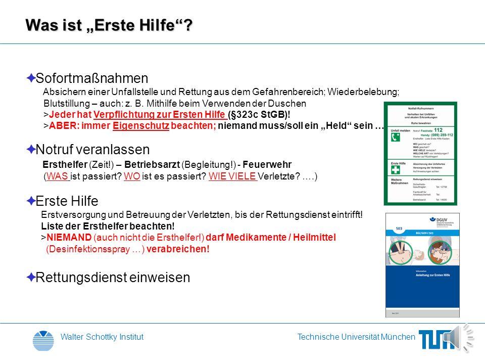 Walter Schottky InstitutTechnische Universität München Erste Hilfe Sonja Matich Ersthelfer WSI / ZNN