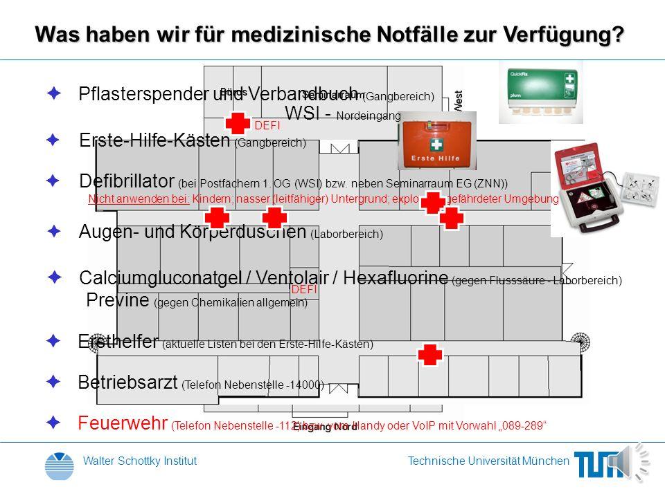 Walter Schottky InstitutTechnische Universität München Was haben wir für medizinische Notfälle zur Verfügung.
