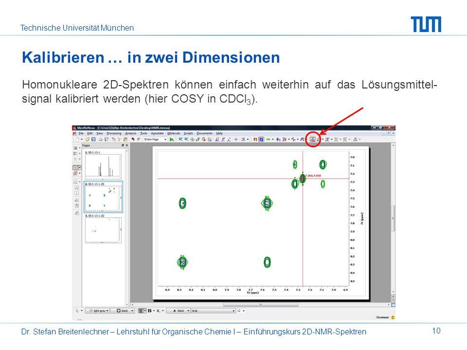 Technische Universität München Dr. Stefan Breitenlechner – Lehrstuhl für Organische Chemie I – Einführungskurs 2D-NMR-Spektren 10 Kalibrieren … in zwe