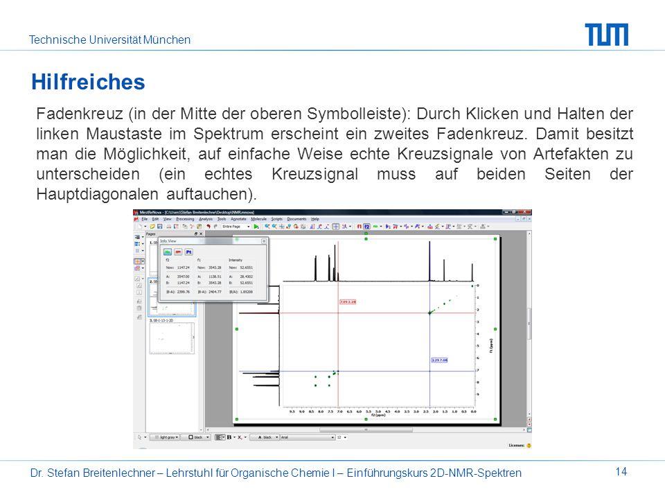 Technische Universität München Dr. Stefan Breitenlechner – Lehrstuhl für Organische Chemie I – Einführungskurs 2D-NMR-Spektren 14 Fadenkreuz (in der M