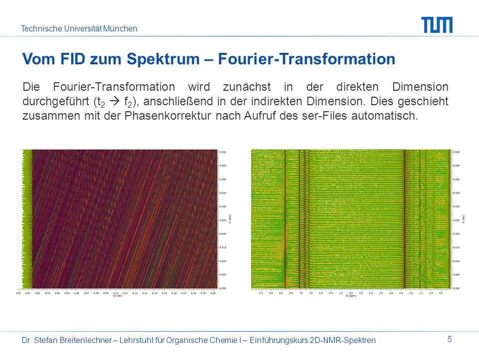 Technische Universität München Dr. Stefan Breitenlechner – Lehrstuhl für Organische Chemie I – Einführungskurs 2D-NMR-Spektren 5 Vom FID zum Spektrum