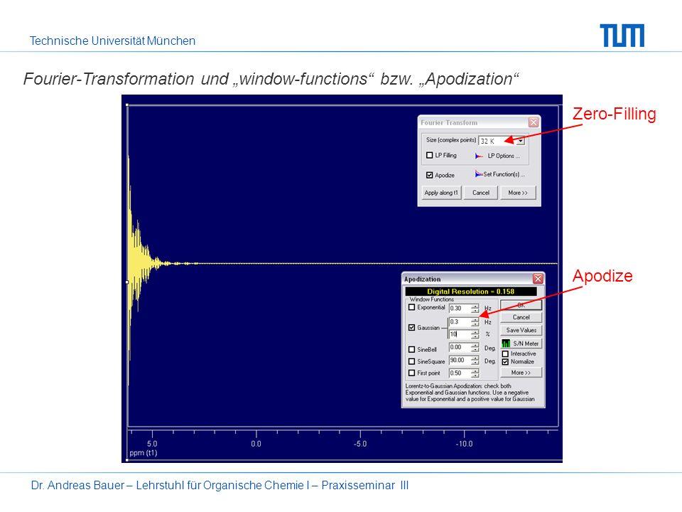 Technische Universität München Dr. Andreas Bauer – Lehrstuhl für Organische Chemie I – Praxisseminar III Signalstärke und Rauschen (signal/noise-ratio