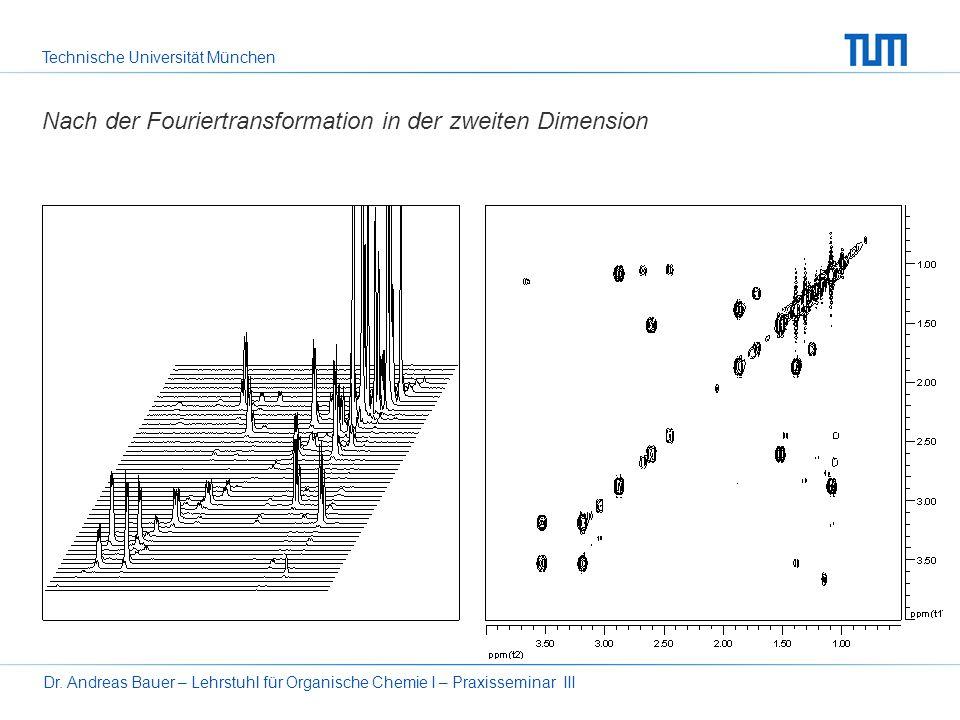 Technische Universität München Dr. Andreas Bauer – Lehrstuhl für Organische Chemie I – Praxisseminar III15 Nach der Fouriertransformation der t 2 -Dim