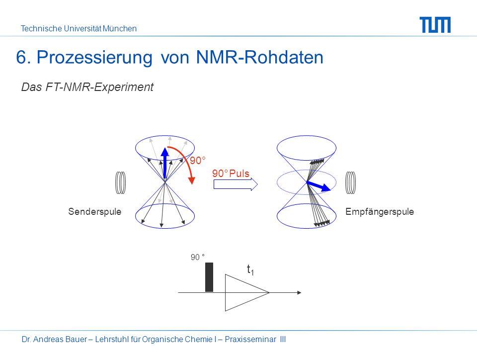 Technische Universität München Dr. Andreas Bauer – Lehrstuhl für Organische Chemie I – Praxisseminar III2 6. Prozessierung von NMR-Rohdaten Grundlagen