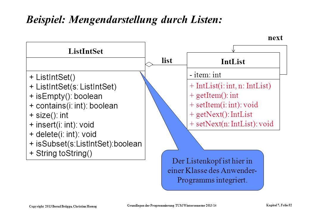Copyright 2013 Bernd Brügge, Christian Herzog Grundlagen der Programmierung TUM Wintersemester 2013/14 Kapitel 7, Folie 52 Beispiel: Mengendarstellung durch Listen: list ListIntSet + ListIntSet() + ListIntSet(s: ListIntSet) + isEmpty(): boolean + contains(i: int): boolean + size(): int + insert(i: int): void + delete(i: int): void + isSubset(s:ListIntSet):boolean + String toString() next IntList - item: int + IntList(i: int, n: IntList) + getItem(): int + setItem(i: int): void + getNext(): IntList + setNext(n: IntList): void Der Listenkopf ist hier in einer Klasse des Anwender- Programms integriert.