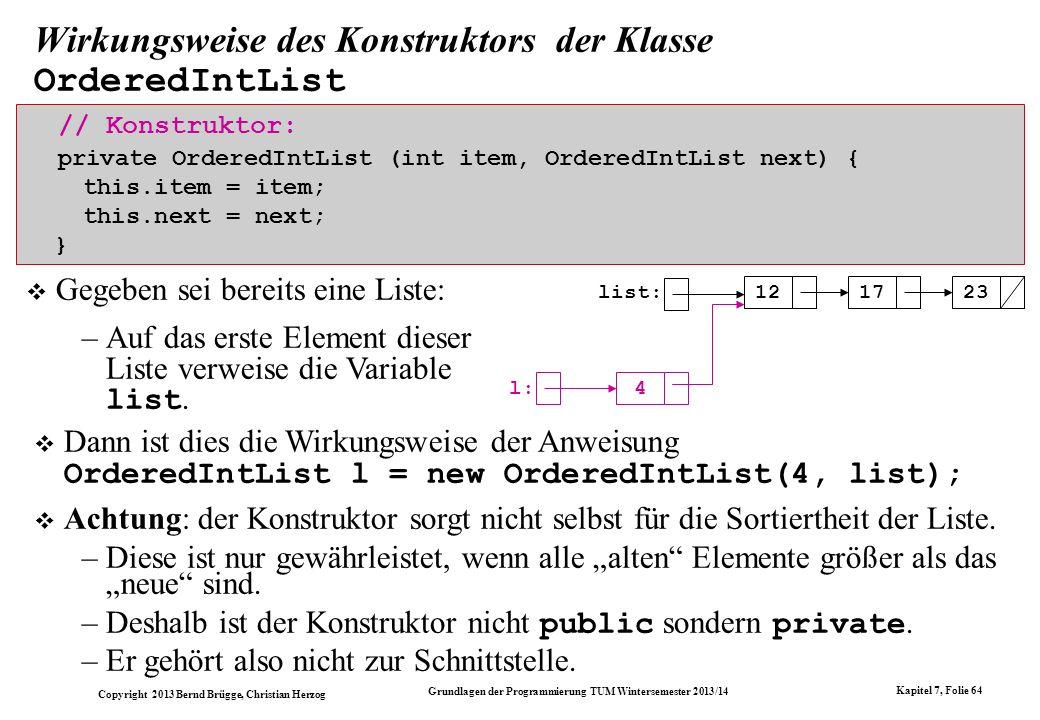 Copyright 2013 Bernd Brügge, Christian Herzog Grundlagen der Programmierung TUM Wintersemester 2013/14 Kapitel 7, Folie 64 Wirkungsweise des Konstruktors der Klasse OrderedIntList // Konstruktor: private OrderedIntList (int item, OrderedIntList next) { this.item = item; this.next = next; } Gegeben sei bereits eine Liste: –Auf das erste Element dieser Liste verweise die Variable list.