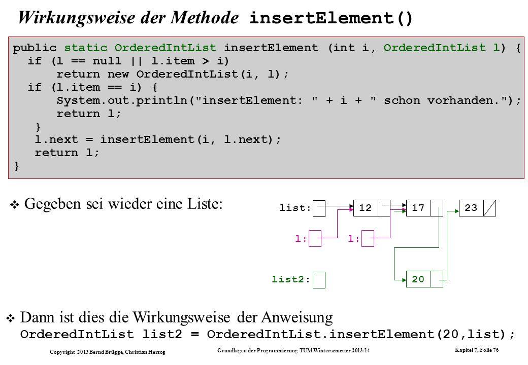 Copyright 2013 Bernd Brügge, Christian Herzog Grundlagen der Programmierung TUM Wintersemester 2013/14 Kapitel 7, Folie 76 Wirkungsweise der Methode insertElement() public static OrderedIntList insertElement (int i, OrderedIntList l) { if (l == null || l.item > i) return new OrderedIntList(i, l); if (l.item == i) { System.out.println( insertElement: + i + schon vorhanden. ); return l; } l.next = insertElement(i, l.next); return l; } Gegeben sei wieder eine Liste: list: 121723 list2: 20 l: Dann ist dies die Wirkungsweise der Anweisung OrderedIntList list2 = OrderedIntList.insertElement(20,list);