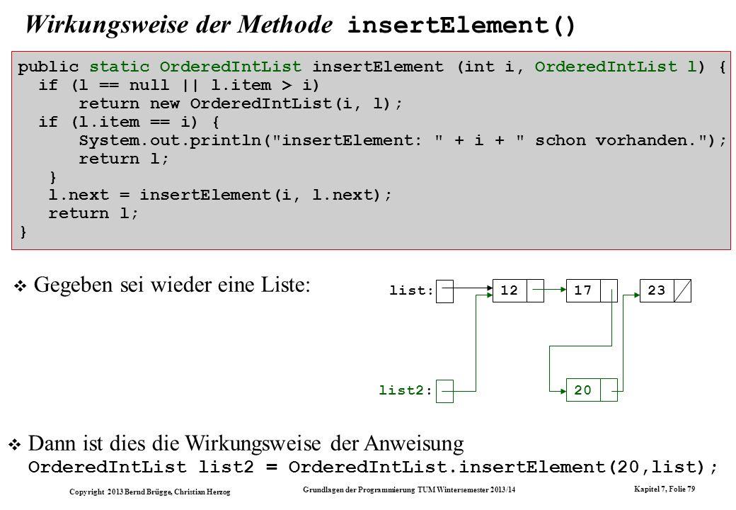 Copyright 2013 Bernd Brügge, Christian Herzog Grundlagen der Programmierung TUM Wintersemester 2013/14 Kapitel 7, Folie 79 Wirkungsweise der Methode insertElement() public static OrderedIntList insertElement (int i, OrderedIntList l) { if (l == null || l.item > i) return new OrderedIntList(i, l); if (l.item == i) { System.out.println( insertElement: + i + schon vorhanden. ); return l; } l.next = insertElement(i, l.next); return l; } Gegeben sei wieder eine Liste: list: 121723 list2: 20 Dann ist dies die Wirkungsweise der Anweisung OrderedIntList list2 = OrderedIntList.insertElement(20,list);