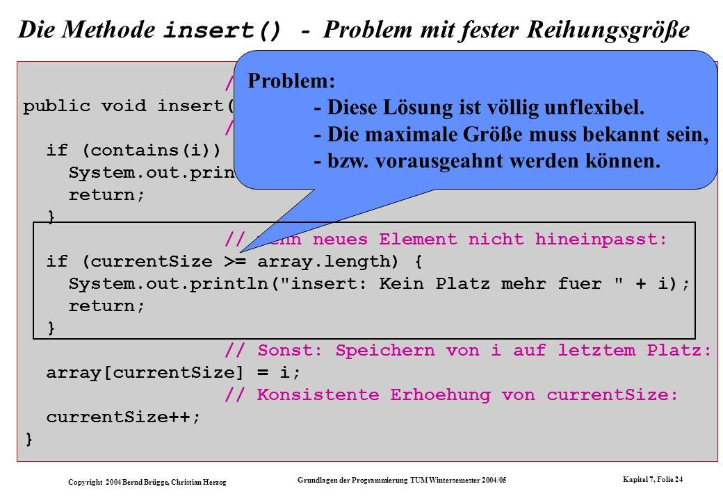 Copyright 2004 Bernd Brügge, Christian Herzog Grundlagen der Programmierung TUM Wintersemester 2004/05 Kapitel 7, Folie 24 Die Methode insert() - Prob