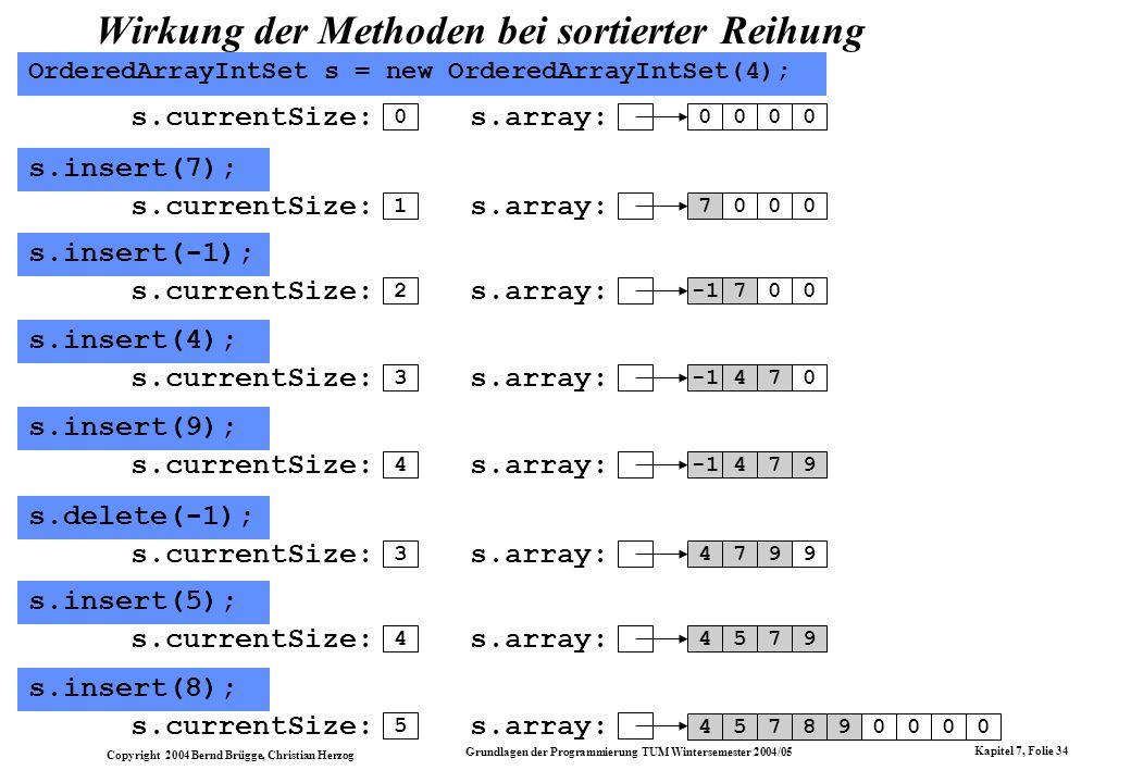 Copyright 2004 Bernd Brügge, Christian Herzog Grundlagen der Programmierung TUM Wintersemester 2004/05 Kapitel 7, Folie 34 Wirkung der Methoden bei so