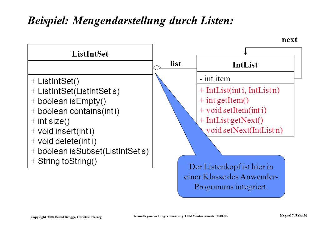 Copyright 2004 Bernd Brügge, Christian Herzog Grundlagen der Programmierung TUM Wintersemester 2004/05 Kapitel 7, Folie 50 Beispiel: Mengendarstellung