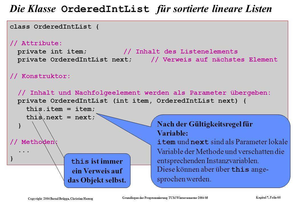 Copyright 2004 Bernd Brügge, Christian Herzog Grundlagen der Programmierung TUM Wintersemester 2004/05 Kapitel 7, Folie 60 Die Klasse OrderedIntList f