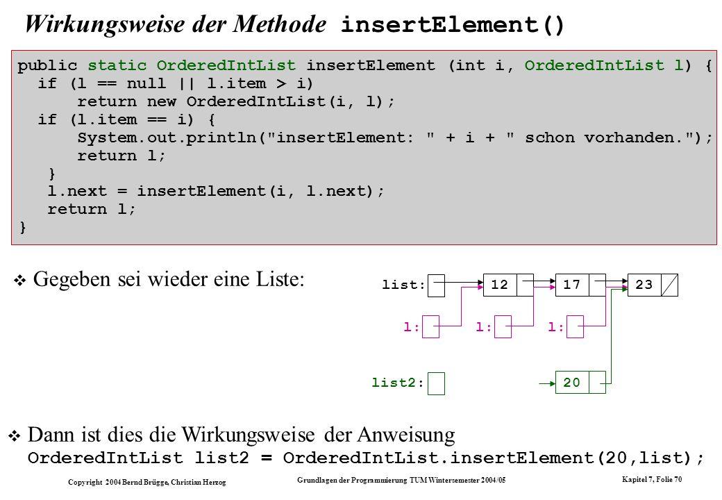 Copyright 2004 Bernd Brügge, Christian Herzog Grundlagen der Programmierung TUM Wintersemester 2004/05 Kapitel 7, Folie 70 Wirkungsweise der Methode i