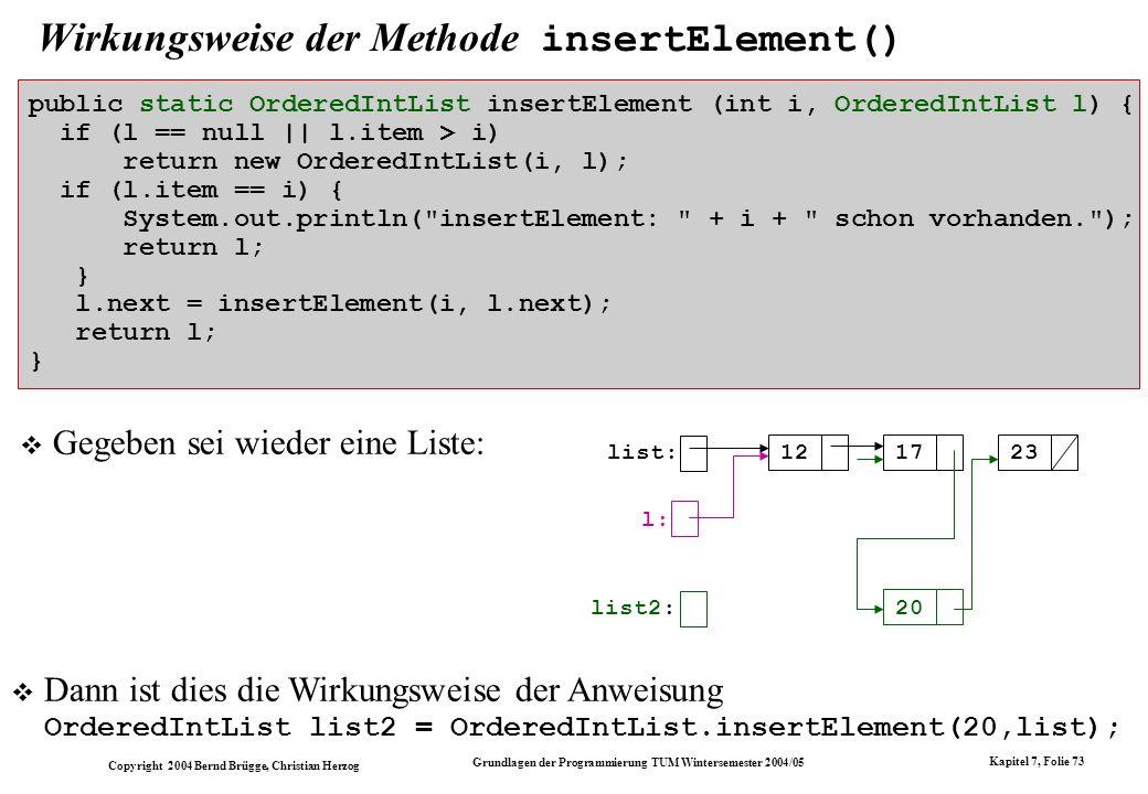 Copyright 2004 Bernd Brügge, Christian Herzog Grundlagen der Programmierung TUM Wintersemester 2004/05 Kapitel 7, Folie 73 Wirkungsweise der Methode i