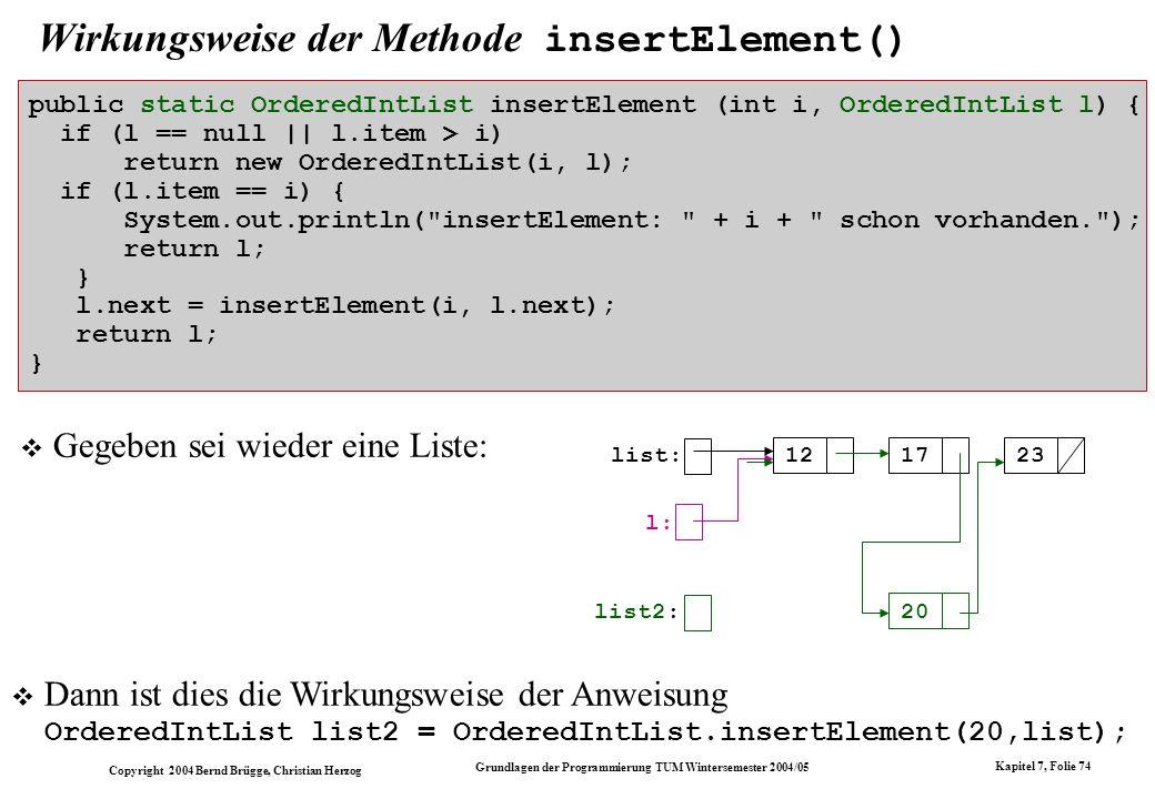 Copyright 2004 Bernd Brügge, Christian Herzog Grundlagen der Programmierung TUM Wintersemester 2004/05 Kapitel 7, Folie 74 Wirkungsweise der Methode i
