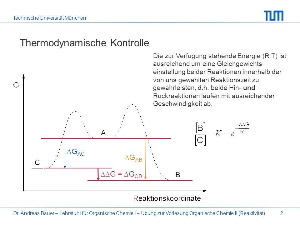 Technische Universität München Dr. Andreas Bauer – Lehrstuhl für Organische Chemie I – Übung zur Vorlesung Organische Chemie II (Reaktivität)2 Thermod
