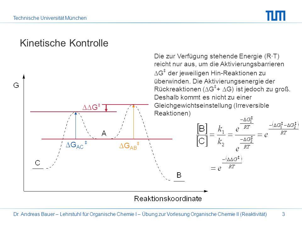 Technische Universität München Dr. Andreas Bauer – Lehrstuhl für Organische Chemie I – Übung zur Vorlesung Organische Chemie II (Reaktivität)3 Kinetis