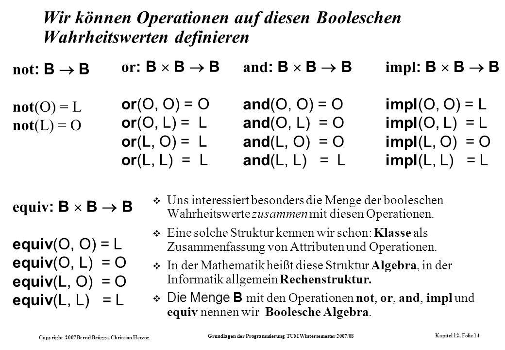Copyright 2007 Bernd Brügge, Christian Herzog Grundlagen der Programmierung TUM Wintersemester 2007/08 Kapitel 12, Folie 14 Wir können Operationen auf
