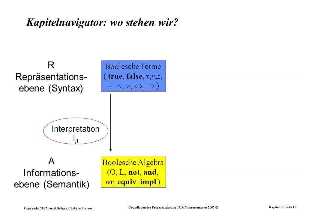 Copyright 2007 Bernd Brügge, Christian Herzog Grundlagen der Programmierung TUM Wintersemester 2007/08 Kapitel 12, Folie 17 Kapitelnavigator: wo stehe
