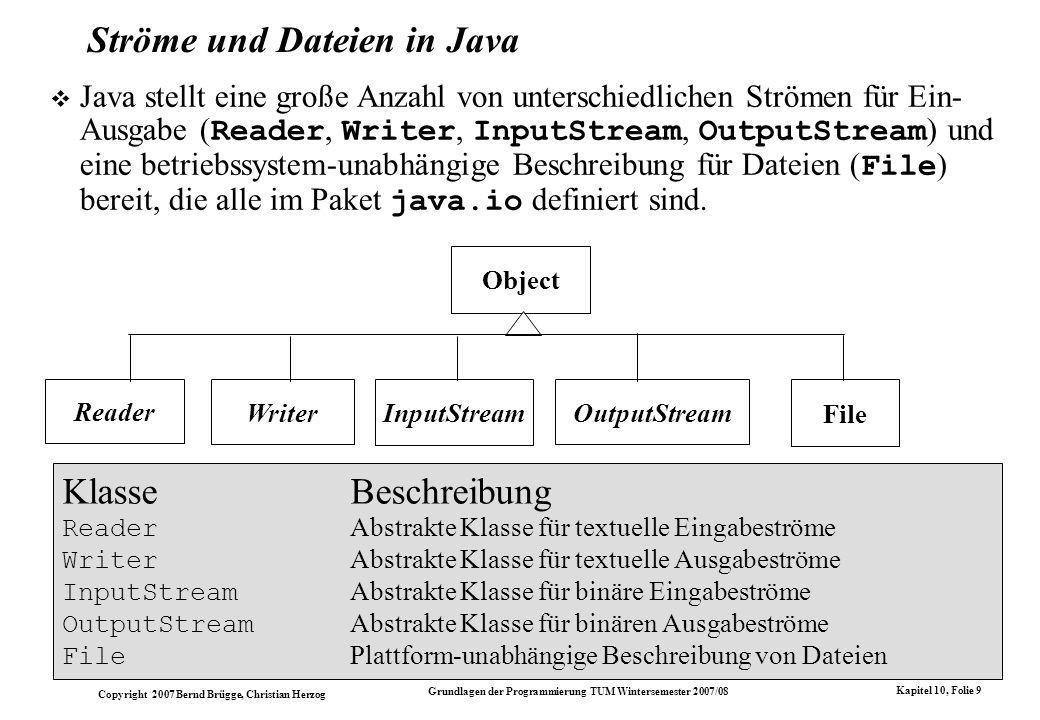 Copyright 2007 Bernd Brügge, Christian Herzog Grundlagen der Programmierung TUM Wintersemester 2007/08 Kapitel 10, Folie 9 Ströme und Dateien in Java Java stellt eine große Anzahl von unterschiedlichen Strömen für Ein- Ausgabe ( Reader, Writer, InputStream, OutputStream ) und eine betriebssystem-unabhängige Beschreibung für Dateien ( File ) bereit, die alle im Paket java.io definiert sind.