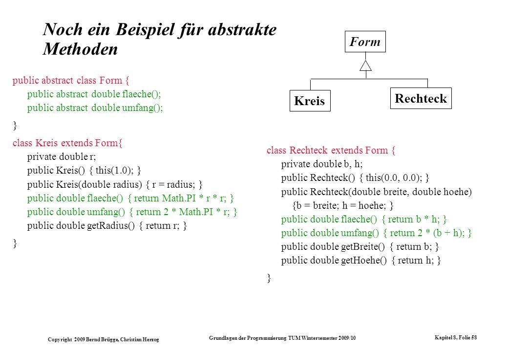 Copyright 2009 Bernd Brügge, Christian Herzog Grundlagen der Programmierung TUM Wintersemester 2009/10 Kapitel 8, Folie 59 Mehrverfachvererbung Mehrfachvererbung kommt in der Modellierung ganz natürlich vor.