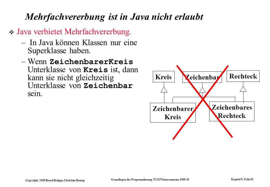 Copyright 2009 Bernd Brügge, Christian Herzog Grundlagen der Programmierung TUM Wintersemester 2009/10 Kapitel 8, Folie 63 Java-Implementation mit Klassenschnittstelle Java hat eine andere Lösung zu diesem Problem: die Klassenschnittstelle (interface).