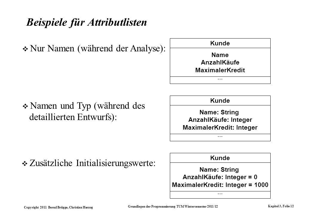 Copyright 2011 Bernd Brügge, Christian Herzog Grundlagen der Programmierung TUM Wintersemester 2011/12 Kapitel 3, Folie 12 Beispiele für Attributliste