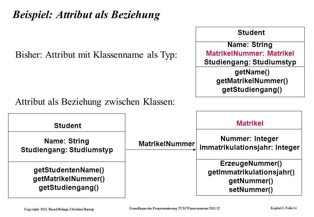 Copyright 2011 Bernd Brügge, Christian Herzog Grundlagen der Programmierung TUM Wintersemester 2011/12 Kapitel 3, Folie 14 Beispiel: Attribut als Bezi