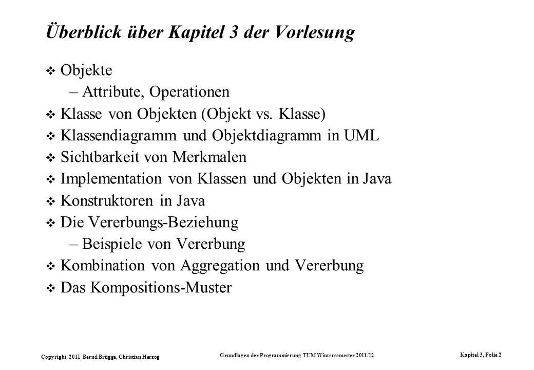Copyright 2011 Bernd Brügge, Christian Herzog Grundlagen der Programmierung TUM Wintersemester 2011/12 Kapitel 3, Folie 2 Überblick über Kapitel 3 der